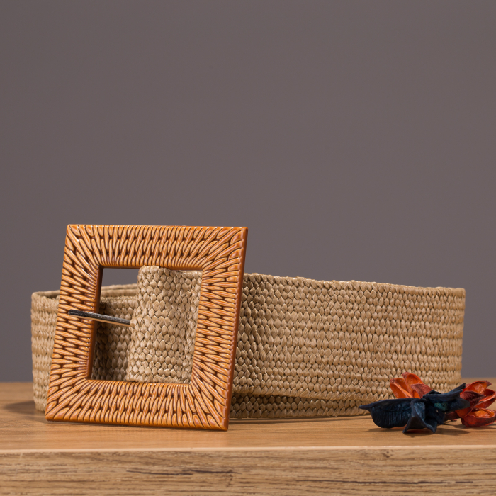 Curea lata elastica natur cu catarama patrata 0