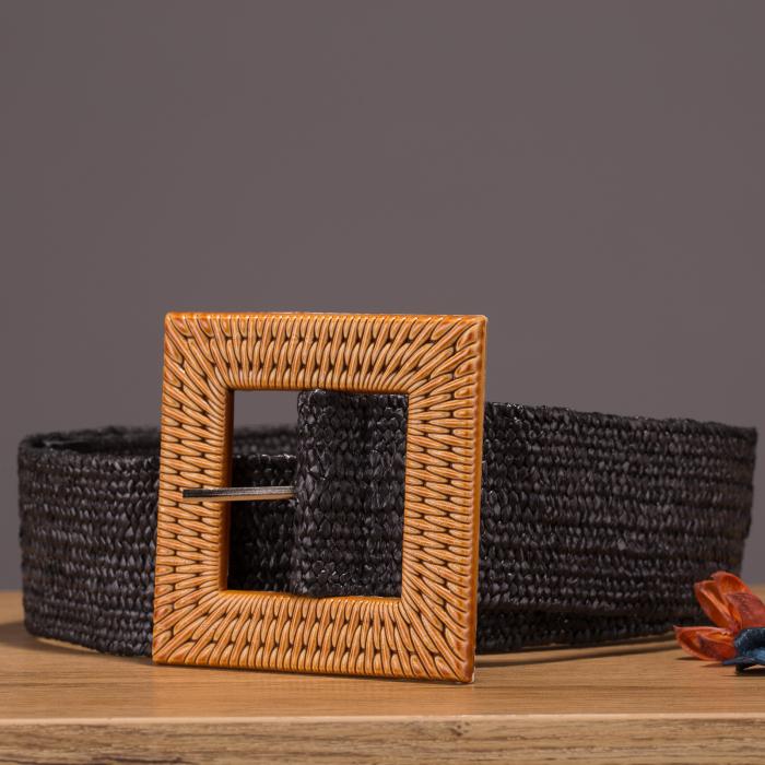 Curea lata elastica neagra cu catarama patrata natur [0]