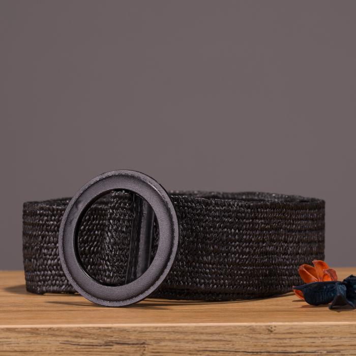 Curea lata elastica neagra cu catarama rotunda 0