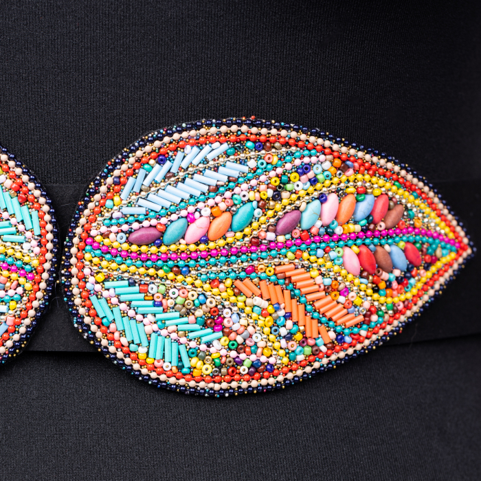 Curea lata margelute cu doua petale multicolore [1]