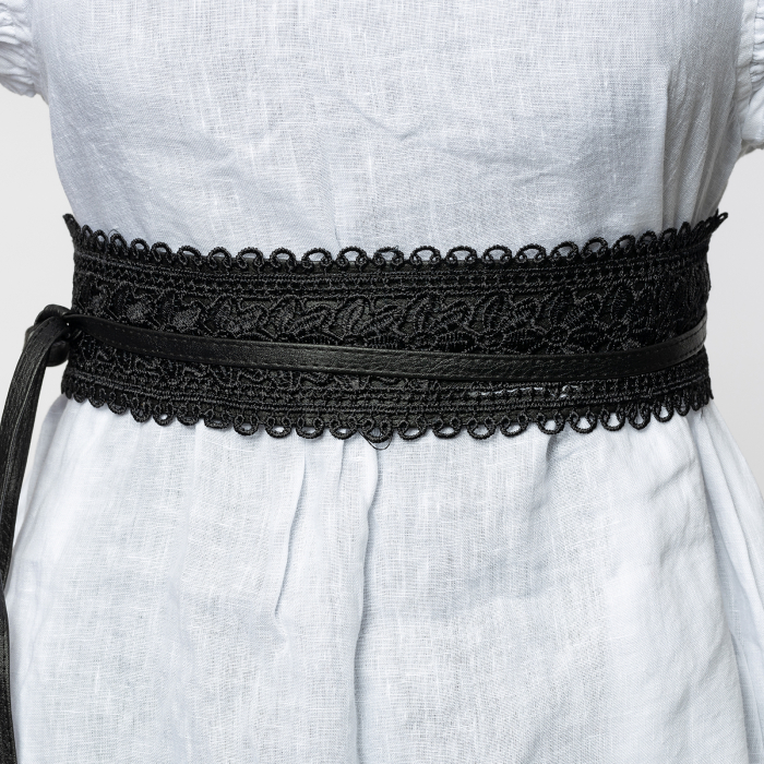 Curea lata petrecuta neagra, din piele ecologica cu aplicatie din broderie textila [0]