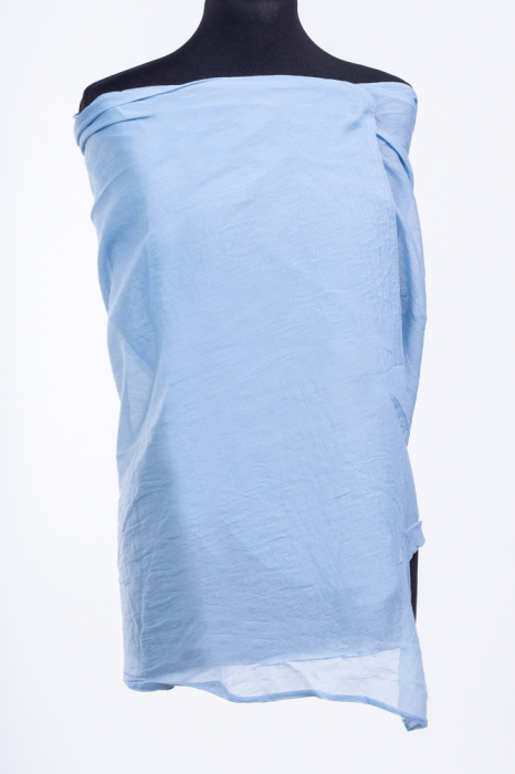Esarfa albastru jeans, dreptunghiulara si colturi alungite, din bumbac si matase [0]