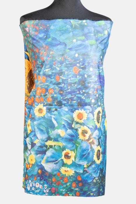 """Esarfa cashmere cu doua fete imprimata cu o stilizare dupa """" Floarea Soarelui"""" de Van Gogh [1]"""