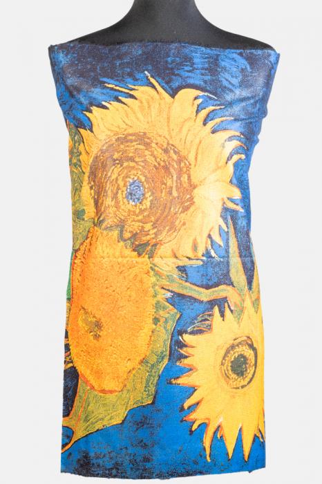 """Esarfa cashmere cu doua fete imprimata cu o stilizare dupa """" Floarea Soarelui"""" de Van Gogh [0]"""