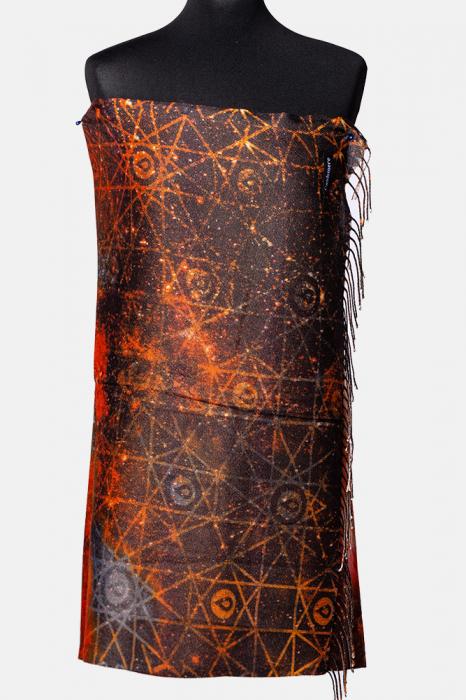 Esarfa cashmere cu fir din lurex, nuante de portocaliu Galaxy [0]