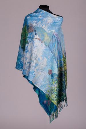 """Esarfa cashmere cu imprimeu reproducere dupa """" Nuferii"""" de Claude Monet [1]"""