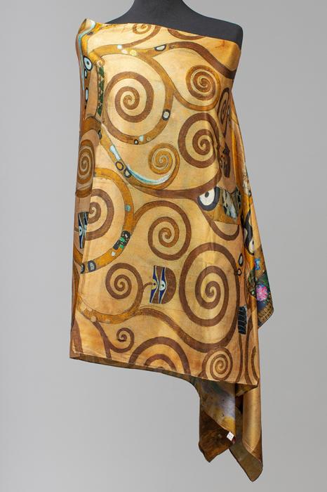 """Esarfa cu doua fete, din matase, imprimata cu reproducere dupa """" Pomul Vietii '' - Gustav Klimt [0]"""