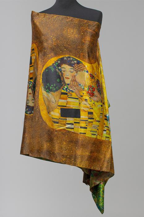 """Esarfa cu doua fete, din matase, imprimata cu reproducere dupa """"Sarutul """" de Gustav Klimt [0]"""