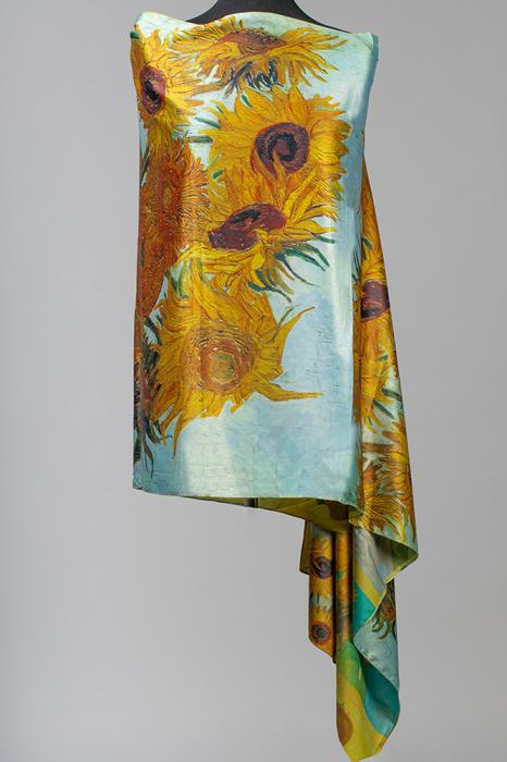 Esarfa din matase, cu o fata imprimata cu reproducerea dupa pictura `Floarea soarelui` a lui Vincent Van Gogh [0]