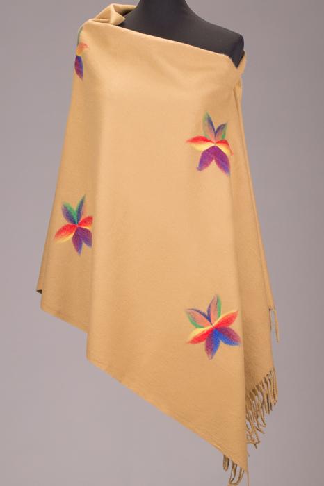 Esarfa dreptunghiulara cappucino cu flori multicolore 0