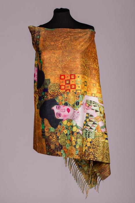 """Esarfa dreptunghiulara din cashmere cu o fata imprimata cu reproducerea dupa  pictura """"Adele"""" a celebrului Gustav Klimt [0]"""