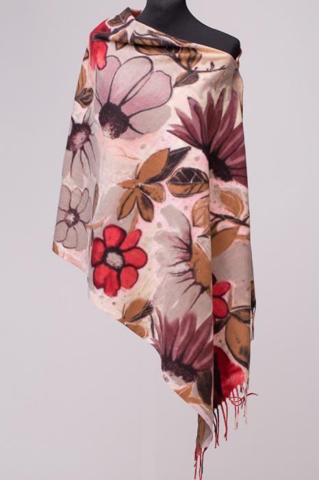 Esarfa dreptunghiulara din cashmire cu imprimeu floral 0
