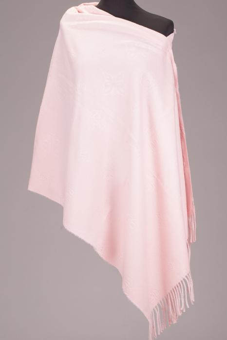 Esarfa cashmere dreptunghiulara roz cu modele embosate [0]