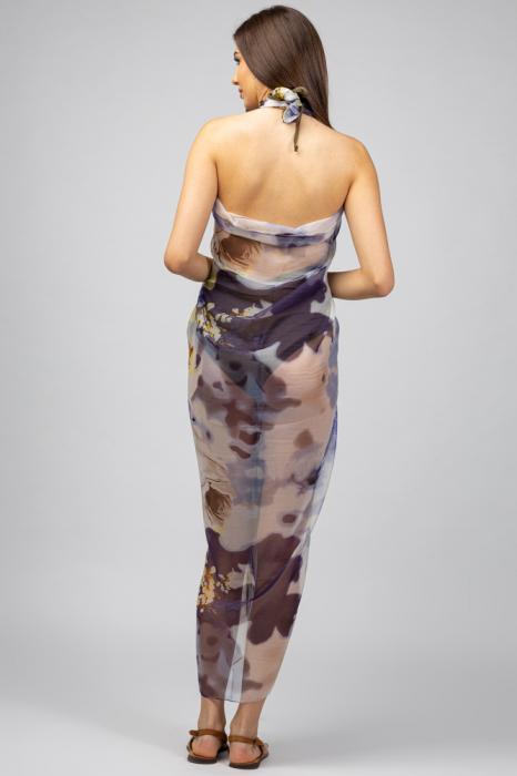 Esarfa dreptunghiulara tip pareo, Silk Feeling, cu nuante de galben si violet [1]