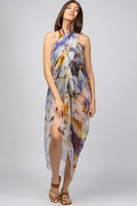 Esarfa dreptunghiulara tip pareo, Silk Feeling, cu nuante de galben si violet [0]