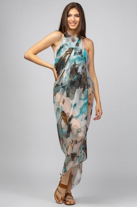 Esarfa dreptunghiulara tip pareo, Silk Feeling, cu nuante de turcoaz si maron [0]