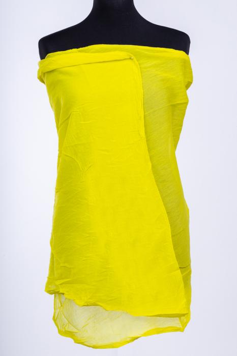Esarfa galben neon, dreptunghiulara si colturi alungite, din bumbac si matase [0]