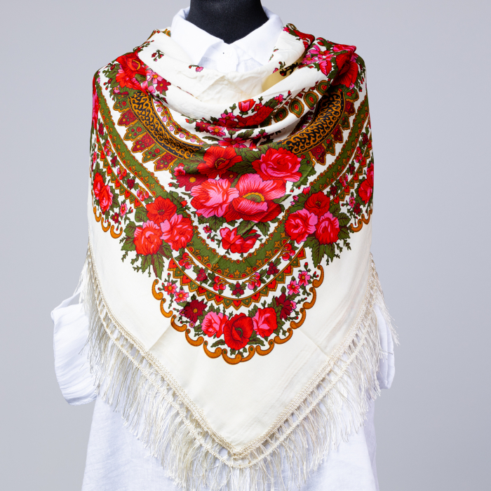 Esarfa gipsy patrata mare, tip Pavlovo Posad cu imprimeu floral traditional pe fond alb [0]