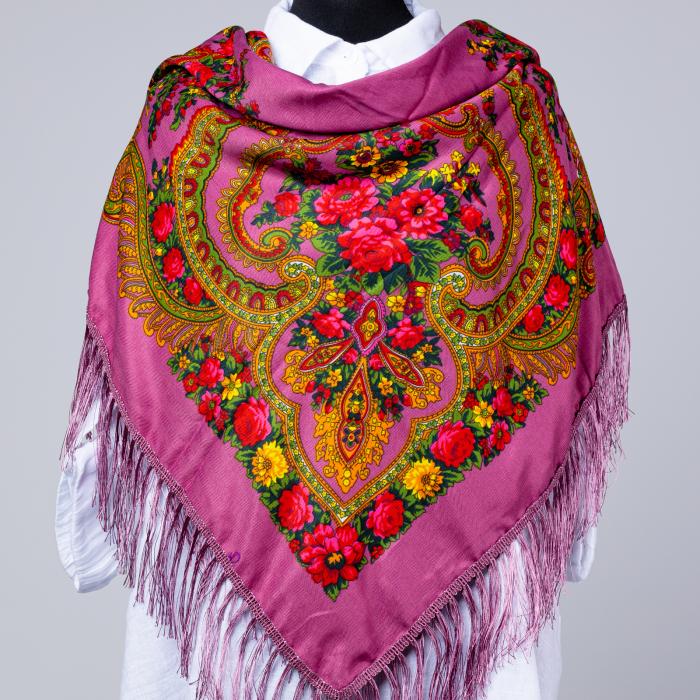 Esarfa gipsy patrata mare, tip Pavlovo Posad cu imprimeu floral traditional pe fond roz inchis [0]