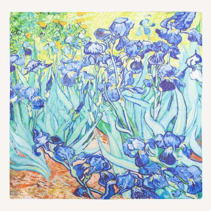 "Esarfa patrata cu o fata imprimata cu reproducerea dupa pictura ""Irisi"" a lui Van Gogh, din matase naturala [0]"
