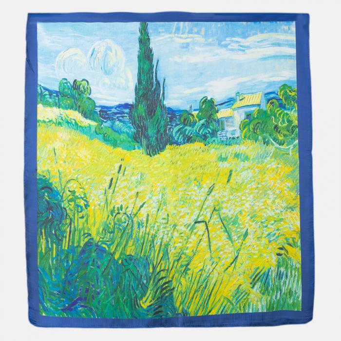 "Esarfa patrata cu o singura fata imprimata cu o reproducere dupa '' Camp de grau si chiparosi"" de Van Gogh [0]"