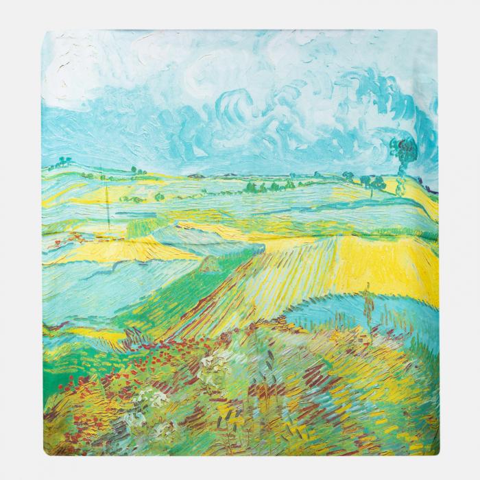 Esarfa patrata cu o singura fata imprimata cu reproducere dupa tablou cu lanuri de Van Gogh [0]