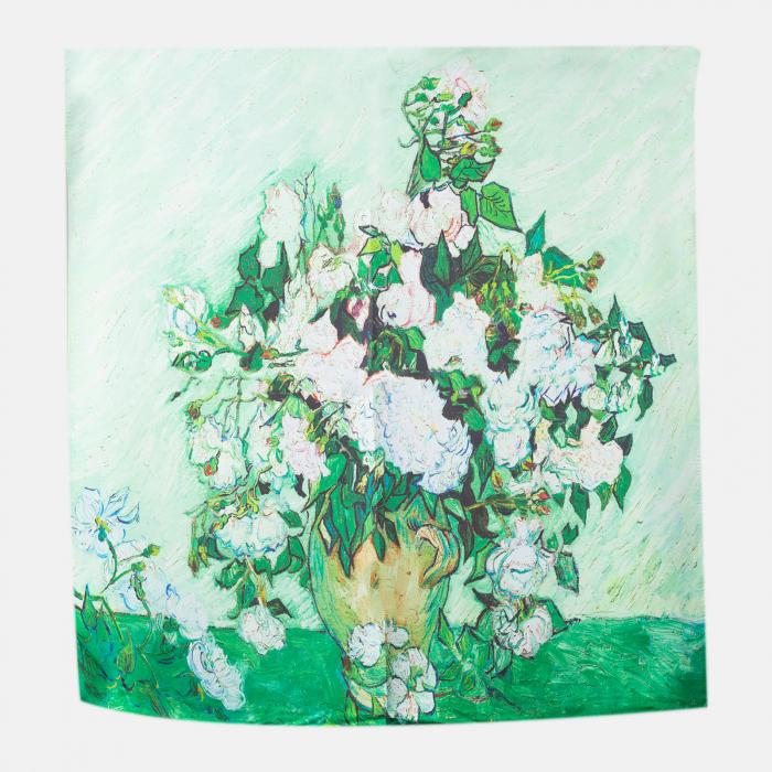 "Esarfa patrata cu o singura fata imprimata cu reproducerea dupa "" Vaza cu trandafiri albi"" de Van Gogh [0]"
