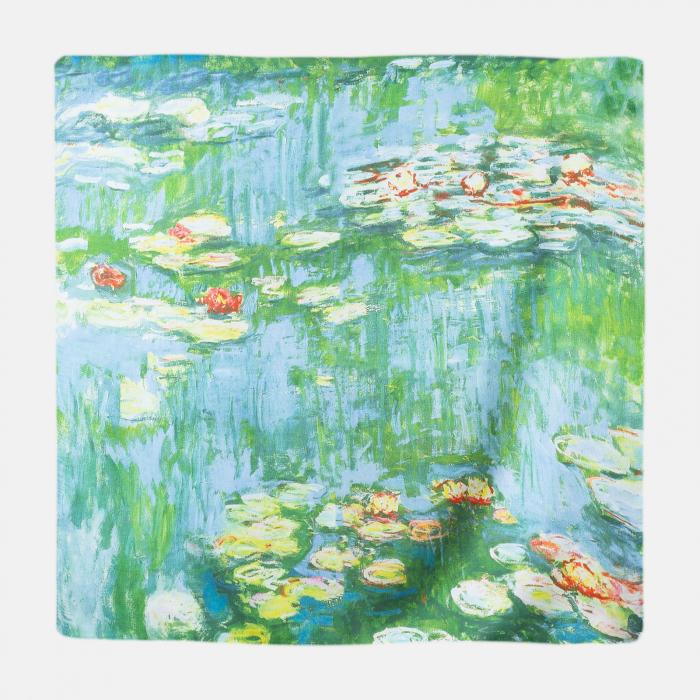 "Esarfa patrata cu o singura fata imprimata cu reproducere dupa "" Nuferii"" de Claude Monet [0]"