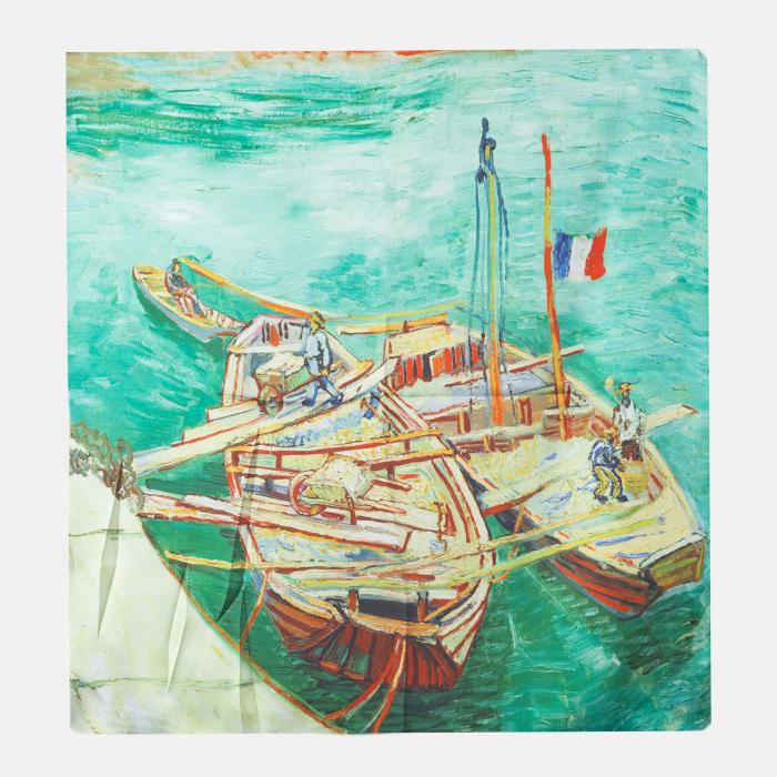Esarfa patrata cu o singura fata imprimata dupa reproducerea unui tablou cu barci [0]