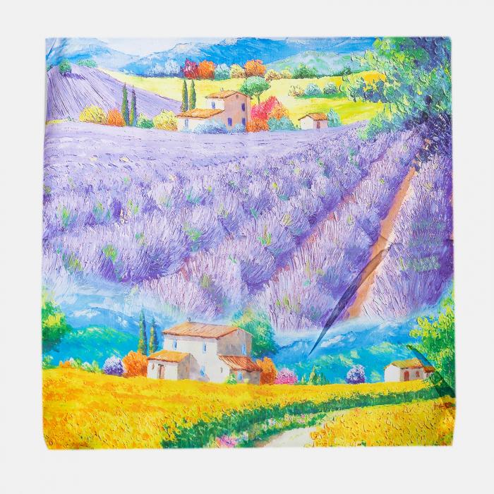 Esarfa patrata cu o singura fata imprimata dupa reproducerea unui tablou cu gradina de lavanda [0]
