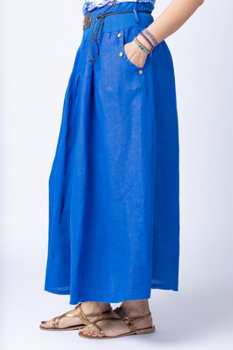 Fusta lunga casual, albastru electric, din in, cu o curea fancy [1]