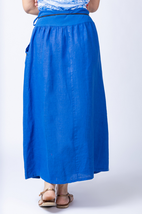 Fusta lunga casual, albastru electric, din in, cu o curea fancy [2]