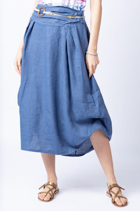 Fusta lunga albastru jeans cu poale prinse, din in, cu o curea fancy [1]