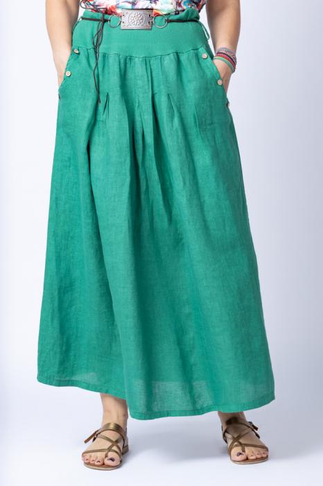 Fusta lunga casual, verde, din in, cu o curea fancy [0]