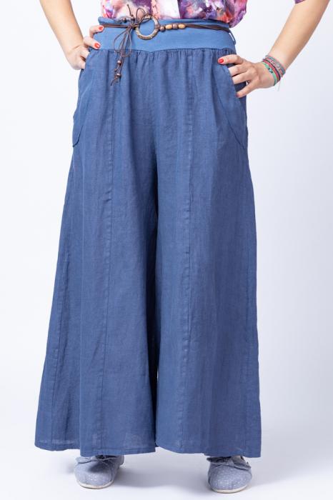 Fusta pantalon bleumarin casual, din in, cu o curea fancy [0]