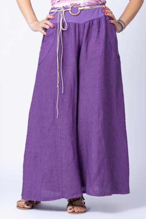 Fusta pantalon mov casual, din in, cu o curea fancy [0]