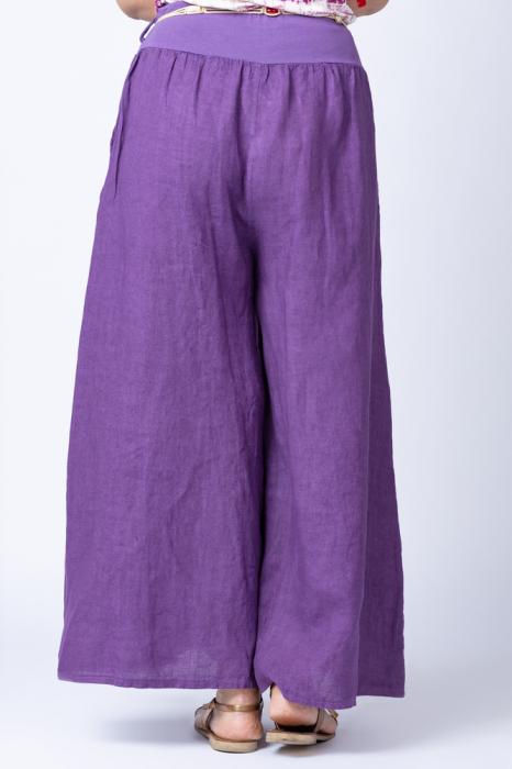Fusta pantalon mov casual, din in, cu o curea fancy [2]