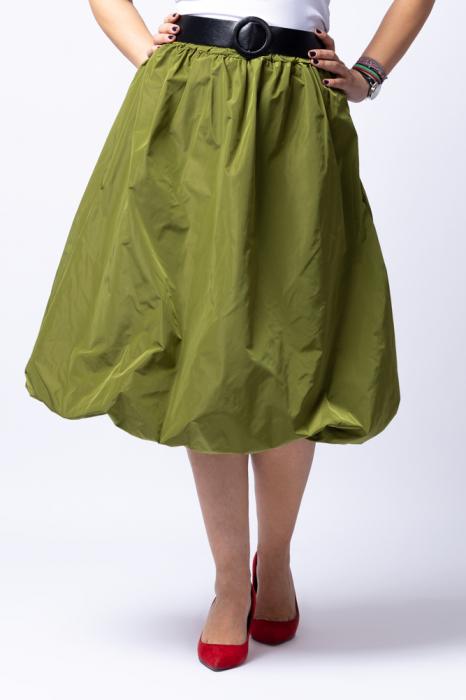 Fusta verde midi, tip gogosar, din tafta, cu curea [0]