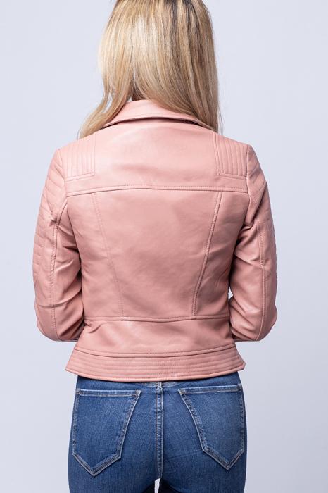 Geaca biker roz din piele ecologica [3]