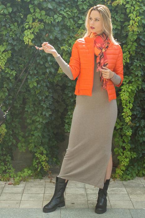 Geaca orange Monte Cervino scurta, cu maneci 3/4 1