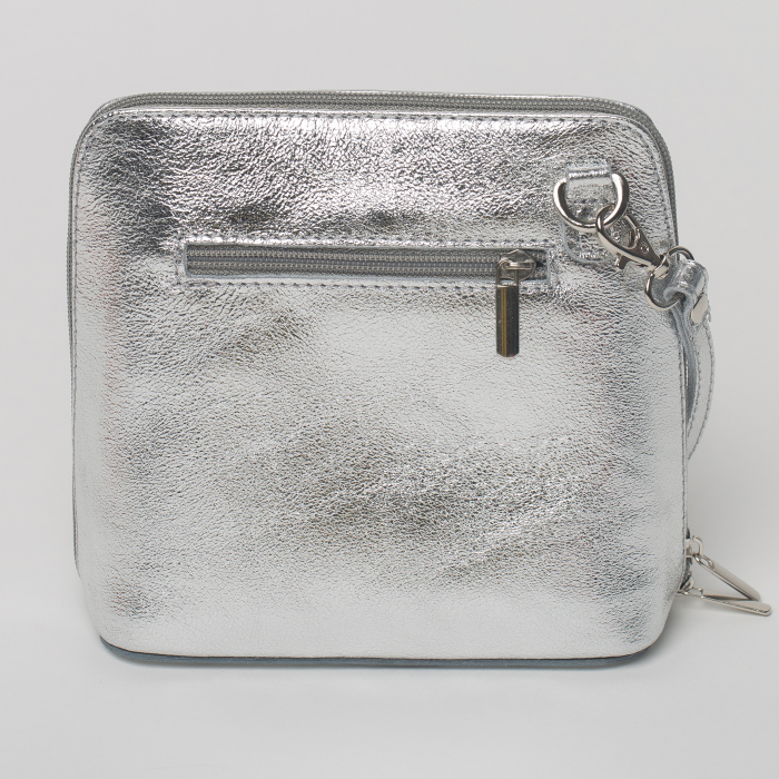 Geanta crossbody, argintie, din piele naturala 1