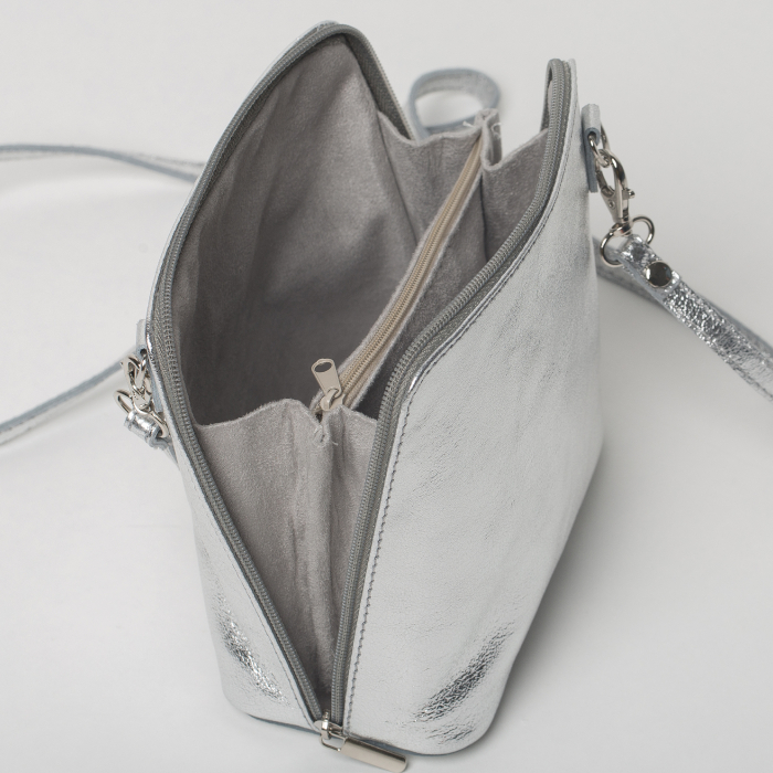 Geanta crossbody, argintie, din piele naturala 2