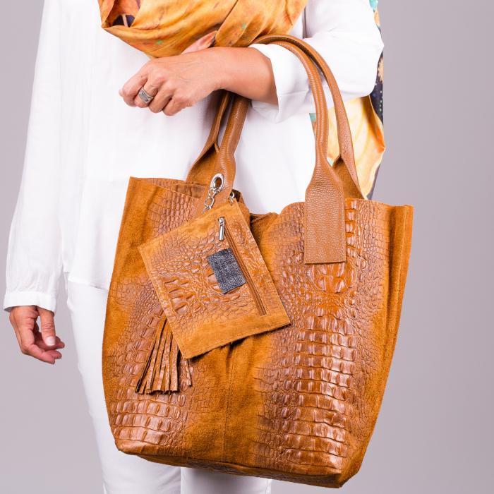 Geanta shopper camel din piele intoarsa naturala [0]