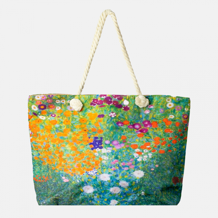 "Geanta de plaja din material textil, cu imprimata cu o reproducere dupa "" Camp cu maci"" de Claude Monet [0]"