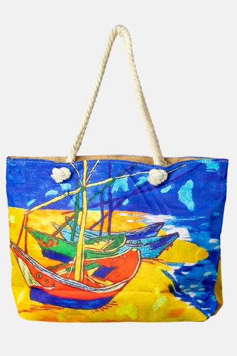 "Geanta de plaja din material textil, cu imprimeu inspirat din pictura ""Barci pe plaja"" a lui Vincent Van Gogh [0]"