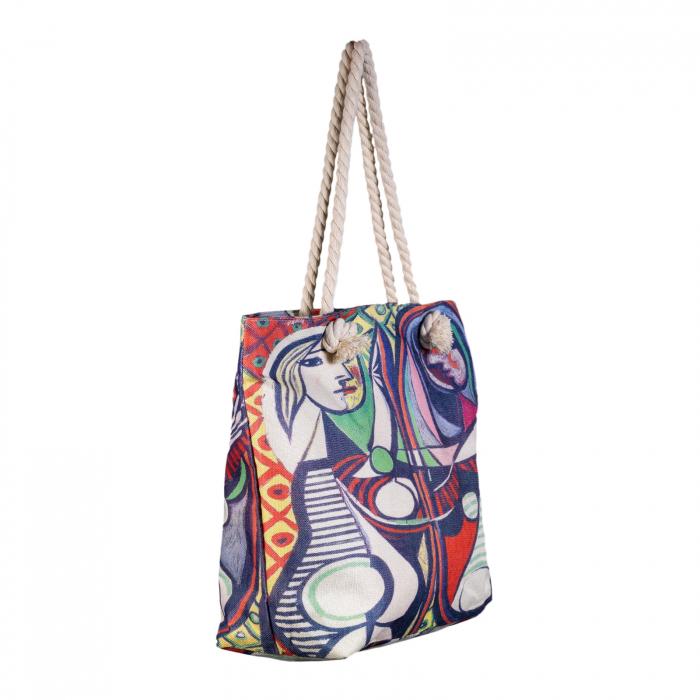 "Geanta de plaja din material textil, cu imprimeu inspirat din pictura ""Girl Before a Mirror"" a lui Pablo Picasso [1]"
