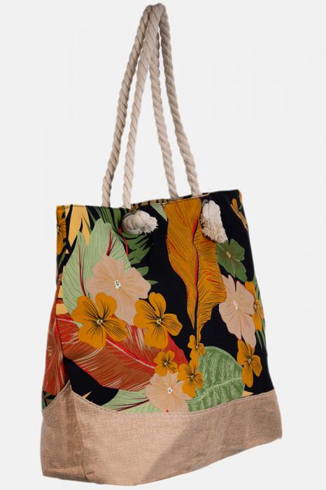 Geanta de plaja din material textil, cu imprimeu tropical pe fond negru [1]