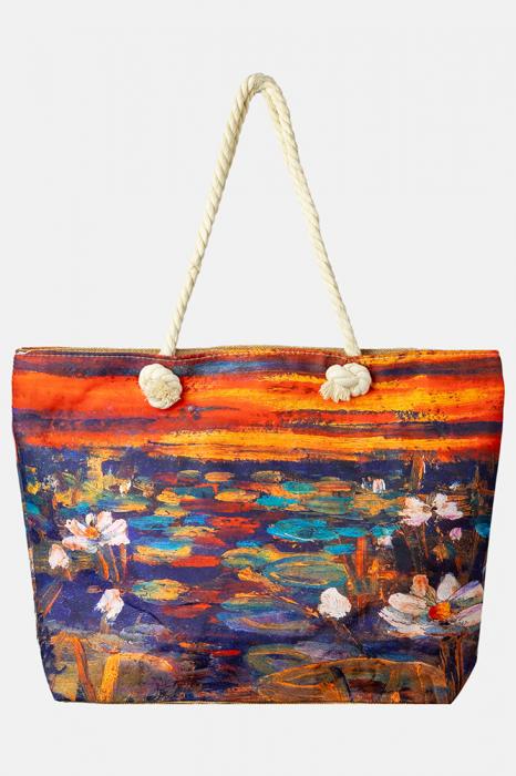 Geanta de plaja din material textil, dupa tablou celebru cu nuferi [0]