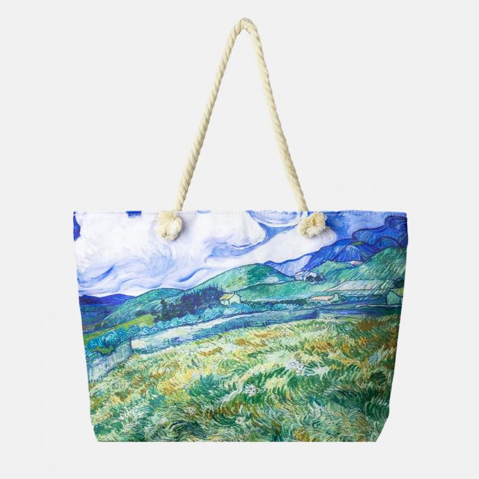 Geanta de plaja din material textil, imprimata cu reproducere dupa tablou cu lanuri de Van Gogh [0]