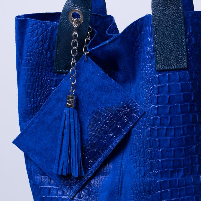 Geanta shopper din piele intoarsa naturala, albastru electric [2]